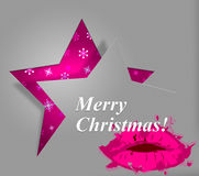 Xmas Lips Indicates Merry Christmas And Celebration Royalty Free Stock Image