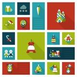 Xmas liso do estilo, grupo do ícone do molde das decorações do feriado do ano novo Imagens de Stock