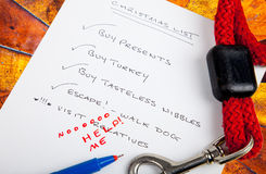 Xmas list. Christmas list of things to do, and those to avoid at all costs Stock Images