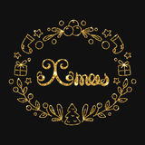 Xmas literowania Bożenarodzeniowy Złoty projekt Typograficzny powitanie ilustracji