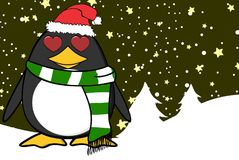 Xmas little inlove penguin cartoon expression santa claus hat background Stock Photography