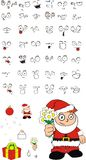 Xmas love santa kid cartoon expression set Royalty Free Stock Image
