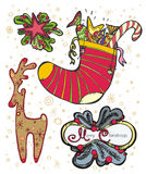 Xmas minipictures. Set of Christmas seasonal colored deer, holiday sock and two compositions with red star, snowflakes, Xmas tree branches and red berries on Stock Photo