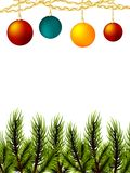Realistic Merry Christmas ball branch pine tree. Xmas mock up conifer vector illustration. Isolated fir banner garland background. Realistic Merry Christmas ball Stock Images
