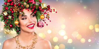 Xmas Model Woman - Holiday Makeup With Christmas Tree Stock Image
