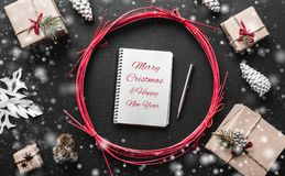 Xmas Modern gifts with space for Christmas message for loved ones. Stock Images