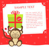 Xmas Monkey. Cute christmas greeting card. Sample text, place your text  — personalize your message Stock Image