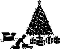 Xmas_morn_boy. Silhouette graphic depicting a boy opening a Christmas gift Royalty Free Stock Image