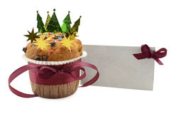 Xmas muffin with greeting card 2 Royalty Free Stock Image