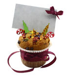 Xmas muffin with greeting card Royalty Free Stock Images