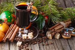 Xmas mulled wine with cinnamon stick royalty free stock photos