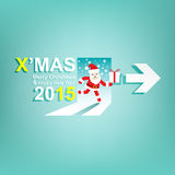 Xmas and New Year 2015 background.X'MAS Sign concept. With santa claus and gift box Stock Photos