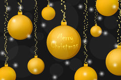 Xmas and New Year concept background. Gold christmas balls on shining black background. Vector illustrations royalty free illustration