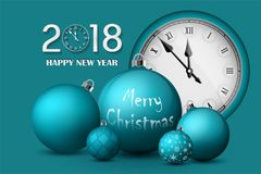 Xmas and New Year 2018 concept. Turquoise christmas balls with silver holders and vintage watch. Set of  realistic objects. Isolated. Vector illustrations Royalty Free Stock Photos