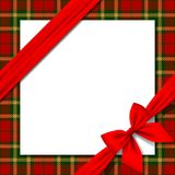 Xmas and New Year greeting card with red ribbon and tartan background royalty free illustration