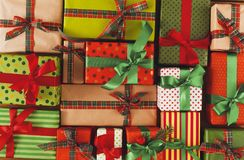 Xmas, new year and other holidays boxes. Crop, closeup Stock Photography