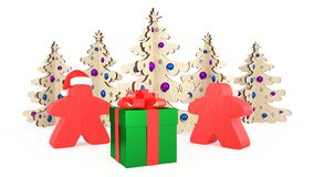 Xmas and New Year in the style of board games. Two orange Meeples stand by a gift box. Christmas decorations trees. 3d Illustratio vector illustration