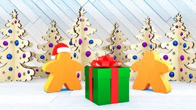 Xmas and New Year in the style of board games. Two orange Meeples stand by a gift box. Christmas decorations trees. 3d render royalty free stock images