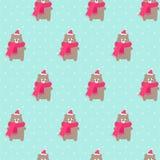 Xmas niedźwiedź w wakacjach kapelusz i szalik z płatka śniegu bezszwowym wzorem na polek kropek mennicie zielenieje tło royalty ilustracja