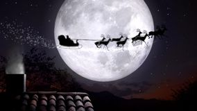 Xmas night with rooftop and smoky chimney with Santa Claus sleight and reindeer silhouette flying by the moon with text