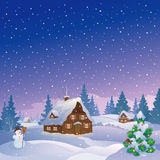 Xmas night village Royalty Free Stock Images