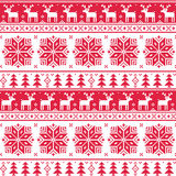 Xmas nordic seamless red pattern with deer Royalty Free Stock Photos
