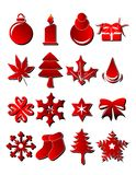 Xmas objects. Silhouette illustration of christmas items on white Royalty Free Stock Image
