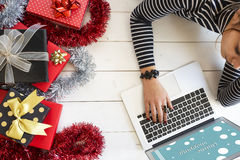 Xmas online shopping with gift boxes Royalty Free Stock Photo