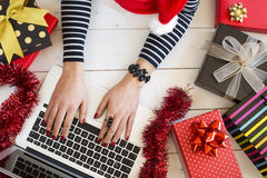 Xmas online shopping with gift boxes Royalty Free Stock Image