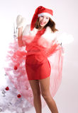 Xmas oops. Pretty young woman oops for skirt royalty free stock images