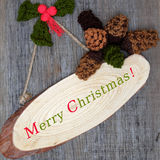 Xmas ornament, knitted Christmas pinecone Stock Photo