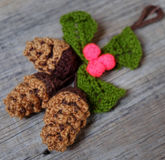 Xmas ornament, knitted Christmas pinecone Royalty Free Stock Photography