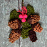 Xmas ornament, knitted Christmas pinecone Stock Photography