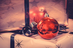 Xmas ornament with a red baubel Royalty Free Stock Image