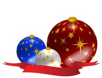 Xmas Ornaments. Christmas Ornaments with red ribbon Illustration Royalty Free Stock Image