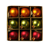 Xmas ornaments in a box with path royalty free stock images