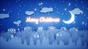 Xmas paper background. Happy new year and xmas background. Snowfall. 3d rendering. Royalty Free Stock Photos