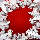 Xmas paper cut branches frame Royalty Free Stock Image