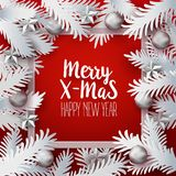 Xmas paper cut branches with greetings Royalty Free Stock Image