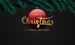 Merry christmas and happy new year banner stock image