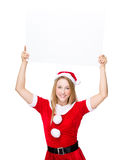 Xmas party dressing raise up of blank billboard Stock Image