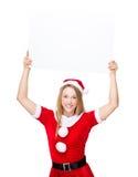 Xmas party dressing raise up of blank billboard. Isolated over white background Stock Image