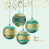 Xmas pattern baubles design element. For header, card, invitation, poster, cover and other web and print design projects. Patchwork Christmas motif in green Royalty Free Stock Photos