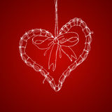 Xmas pen drawing heart illustration with greetings Royalty Free Stock Photo