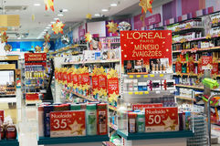 Xmas perfume shop. VILNIUS, LITHUANIA - DECEMBER 19, 2015: Xmas Loreal  perfume discount time  in Panorama market. Loreal is the largest brand of perfume in Royalty Free Stock Photos