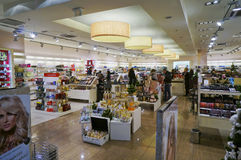 Xmas perfume shop. VILNIUS, LITHUANIA - DECEMBER 13, 2014:  Xmas  perfume shop in Panorama market. Panorama is the largest shopping place in the capital of Stock Images