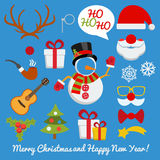 Xmas photo booth and scrapbooking vector set Royalty Free Stock Images