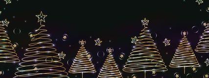 Xmas pine tree line light ball banner Stock Image