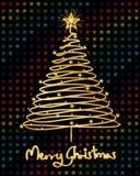 Xmas pine tree line star colorful Stock Photo