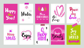 Xmas pink tags with doodles Royalty Free Stock Photo